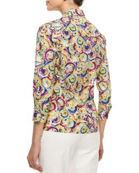 Carolina Herrera - Multicolor Three-quarter-sleeve Parasol-print Button Blouse - Lyst