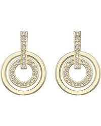 Swarovski | Metallic Circle Mini Pierced Earrings | Lyst
