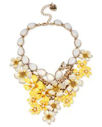 Betsey Johnson - Metallic Gold-tone Iridescent Stone And Floral Statement Necklace - Lyst