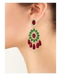 Kenneth Jay Lane - Green Ruby And Emerald Drop Clip Earring - Lyst