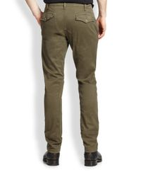 Belstaff - Green Duxbury Stretch Cotton Trousers for Men - Lyst