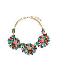 TOPSHOP - Blue Premium Crackle Stone Flower Necklace - Lyst