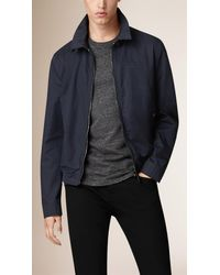 Burberry - Blue Cotton Twill Blouson for Men - Lyst