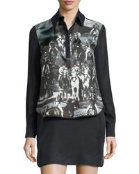 L.A.M.B. | Black Long-sleeve Printed Dress | Lyst