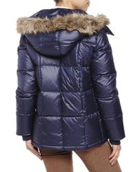Kenneth Cole | Blue Quilted Faux Fur Trim Down Coat | Lyst