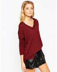 ASOS - Jumper With V Neck And Side Splits In Structured Knit - Lyst