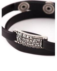 DIESEL - Black Logo Plaque Bracelet for Men - Lyst