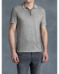John Varvatos | Gray Soft Collar Peace Polo for Men | Lyst