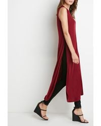 Forever 21 | Red High-slit Ribbed Knit Top | Lyst