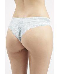 TOPSHOP - Blue Pale Lace Brazillian Panties - Lyst