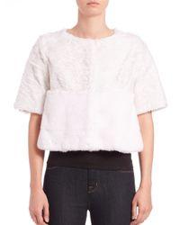 Saks Fifth Avenue - White Swakara Lamb & Mink Fur Bolero - Lyst