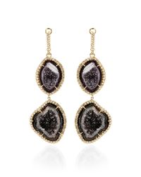 Kimberly Mcdonald | Black One Of A Kind Double Dark Geode and Diamond Lever Back Earrings | Lyst