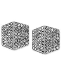 Vince Camuto | Metallic Silver-tone Crystal Pave Geometric Stud Earrings | Lyst