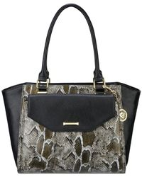 Anne Klein - Black Kick Start Satchel With Removable Wristlet - Lyst