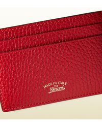 Gucci - Red Swing Leather Card Case - Lyst