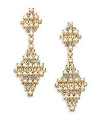 DANNIJO - Metallic Sylvie Crystal & Faux Pearl Drop Earrings - Lyst
