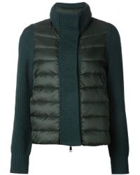 Moncler - Green Wool-Trimmed Quilted Jacket  - Lyst
