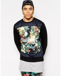 Criminal Damage - Black Sweatshirt With Floral Box Logo for Men - Lyst