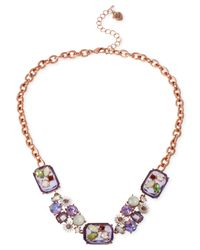 Betsey Johnson - Pink Rose Gold-Tone Faceted Bead And Flower Cluster Frontal Necklace - Lyst