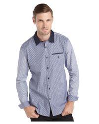 Elie Tahari - Blue Navy Cotton Woven Mixed Media Check 'Steve' Shirt for Men - Lyst