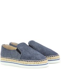 Jimmy Choo - Blue Dawn Chambray Slip-on Sneakers - Lyst