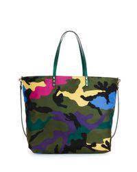 Valentino - Green Nylon Camo-print Easy Tote Bag - Lyst