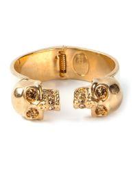 Alexander McQueen | Metallic Double Skull Bracelet | Lyst