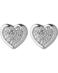 Links of London | Metallic Diamond Heart Stud Earrings | Lyst