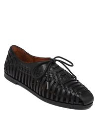 Jessica Simpson | Black Sorbett Leather Woven Flats | Lyst