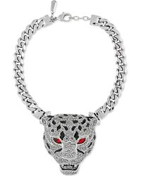 Roberto Cavalli - Metallic Jewelled Panther Choker Chain Silver - Lyst