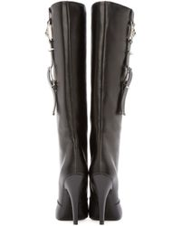 Versus | Black Leather Heeled Tall Boots | Lyst