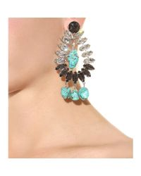 By Malene Birger | Blue Braicca Crystalembellished Turquoise Clipon Earrings | Lyst
