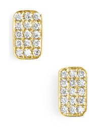 Bony Levy | Yellow 'aurora' Diamond Pave Rectangle Stud Earrings (nordstrom Exclusive) | Lyst