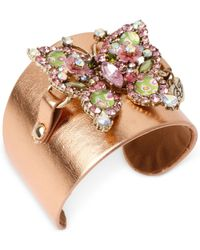 Betsey Johnson | Pink Gold-Tone Crystal Butterfly Faux Leather Cuff Bracelet | Lyst