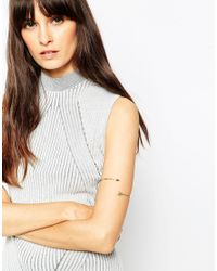 ASOS | Metallic Gold Plated Sterling Silver Arrow Arm Cuff | Lyst