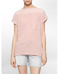 Calvin Klein | Pink Jeans Cuffed Short Sleeve Top | Lyst
