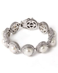 Eddie Borgo - Metallic Silver-plated Pave Pearl Dome Bracelet - Lyst
