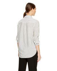 DKNY - White Stripe Button Thru Shirt - Lyst