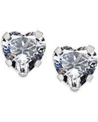 Macy's | Metallic Cubic Zirconia Heart Stud Earrings In 14k White Gold | Lyst