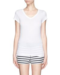 Vince - White 'little Boy' Pima Cotton-modal V-neck T-shirt - Lyst