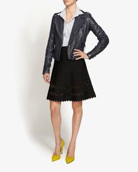 Hervé Léger - Black Cutout Bandage Flare Skirt - Lyst
