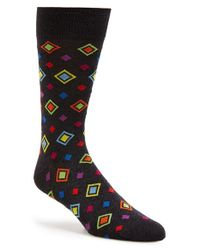Bugatchi - Black Diamond Cotton Blend Socks for Men - Lyst