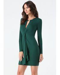 Bebe - Green Jersey Front Twist Dress - Lyst