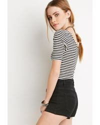 Forever 21 | Black Ribbed Stripe Crop Top You've Been Added To The Waitlist | Lyst