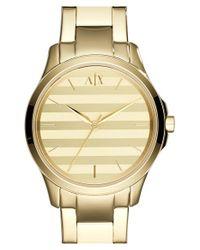 Armani Exchange - Metallic Stripe Dial Bracelet Watch - Lyst