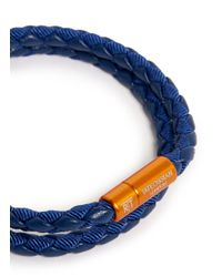 Tateossian - Blue Chelsea Woven-Leather Double-Wrap Bracelet for Men - Lyst