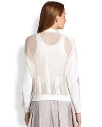 Risto - White Mohair & Chiffon Cable-Knit Jacket - Lyst