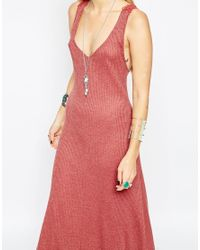 ASOS - Purple Rib Maxi Dress With Crochet Back - Lyst