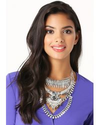 Bebe - Metallic Layered Statement Necklace - Lyst