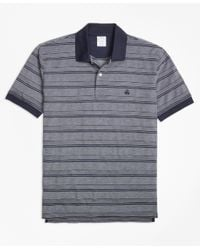 Brooks Brothers - Gray Textured Multi Stripe Polo Shirt for Men - Lyst